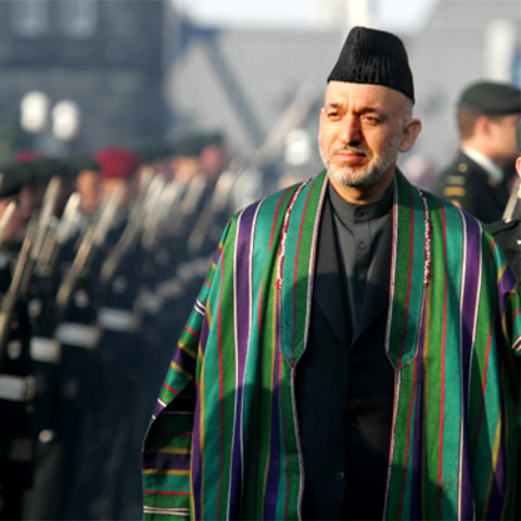President Hamid Karzai takes Office in Afghanistan