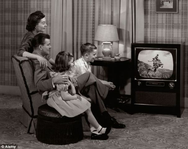 The first black and white electronic TV broadcasting