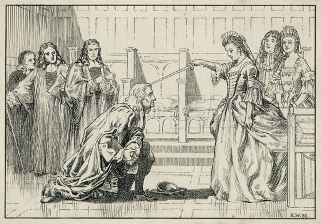 Isaac Newton knighted by Queen Anne of England