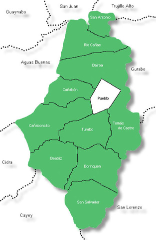 Pueblos que colindan con Caguas