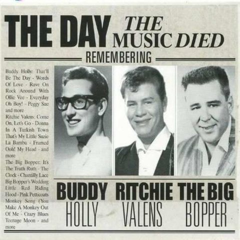 Buddy Holly, Ritchie Valen and thbig bopper killed in plane crash