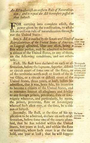 First Alien Naturalization Act