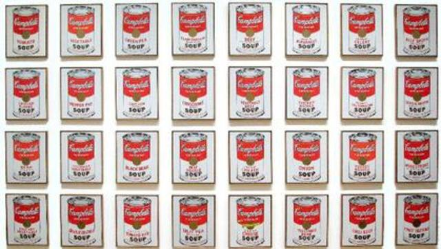 Andy Warhol unveils Campbell's soup can