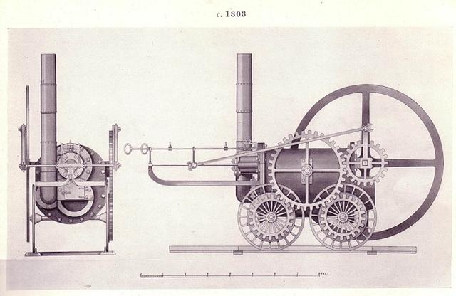 Richard Trevithick desarrolla la primera locomotora de vapor.
