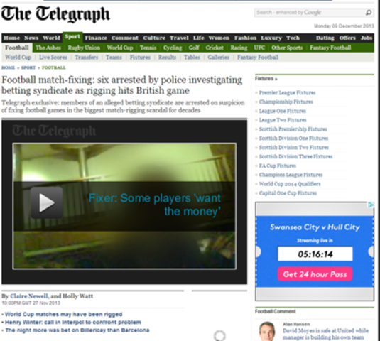 Telegraph reveal six footballers have been arrested for match fixing