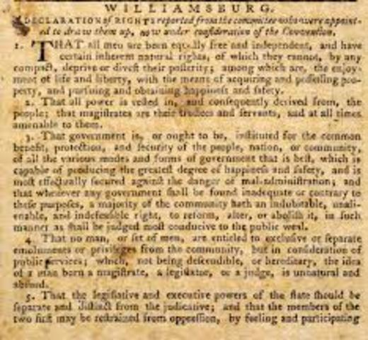 The Virginia Declaration of Rights is adopted