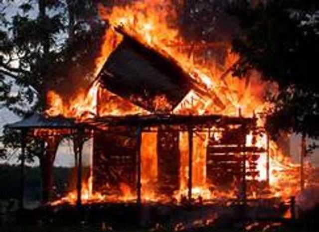 Firemen burn down Montag's house