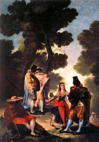 First Goya painting, ''La Maja y los embozados''