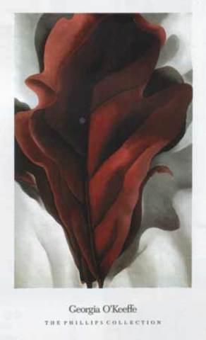 "Georgia O'Keefe's ""Large Dark Red Leaves On White"""