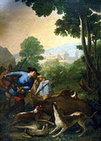 La caza del jabalí tapestry in 1775 by Goya