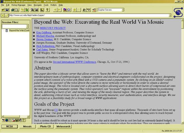 MOSAIC: El primer navegador gráfico abierto al público