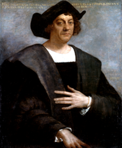 Christopher Columbus lands in the Americas