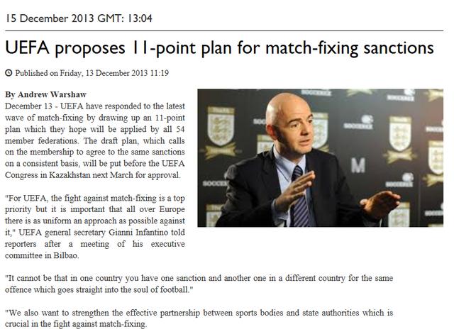 UEFA reveal plan to combat match fixing