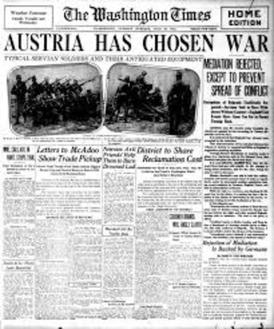 Austria Hungary Declares war on Sebia