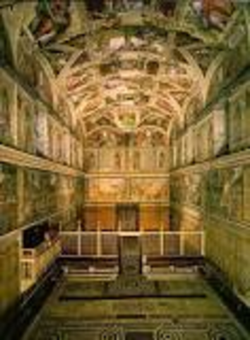Michelangelo paints the ceiling of the Sistine Chapel