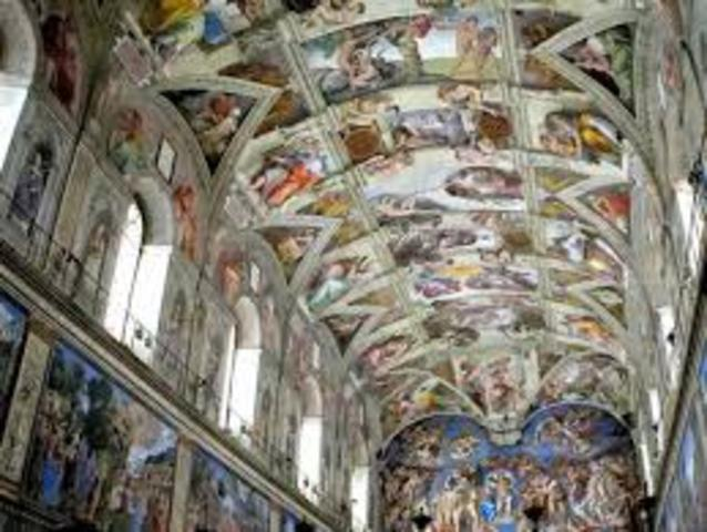michelangelo paints the ceiling of the sistine capel