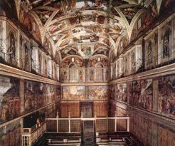 Michelangelo paints the ceiling of the Sistene Chapel