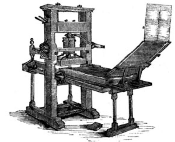 Johan Gutenburg invents the printing press