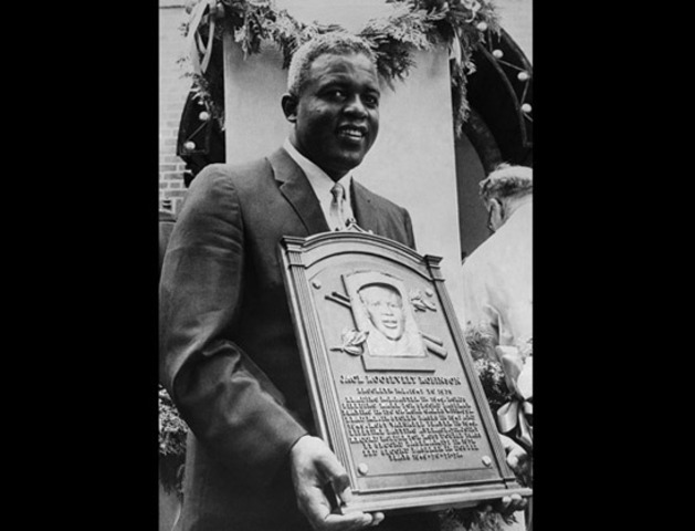 Jackie Robinson was inducted into the Hall of fame.