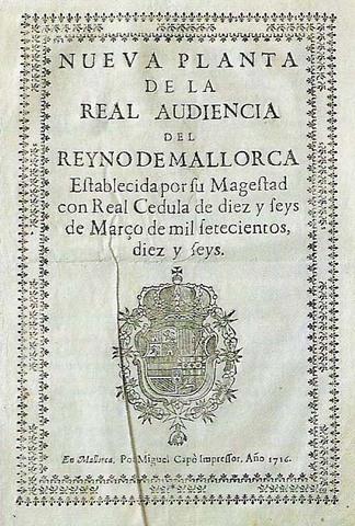 Decreto de Nueva Planta in the Kingdom of Mallorca