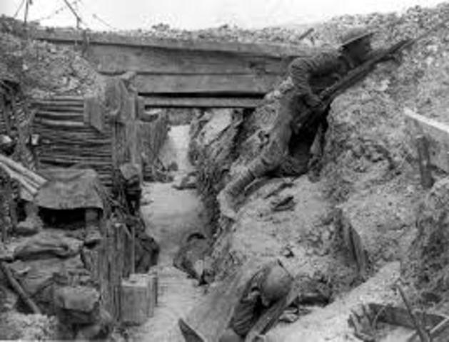 First trenches of the Western front are dug.