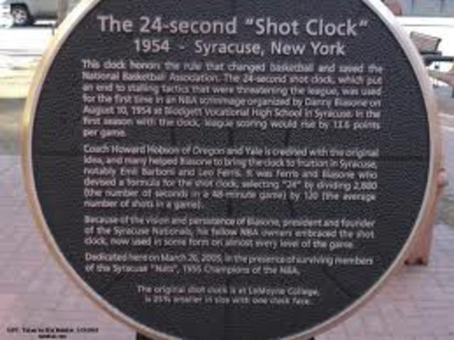 1954 The NBA introduces the shot clock to curtail stalling tactics.