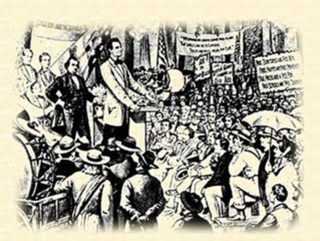 """Lincoln Delivers His """"House Divided"""" speech."""