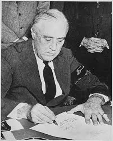 FDR Aigns Executive Order 9066, beginning Japanese Internment