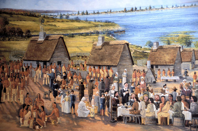 First big feast in Massachusetts Bay