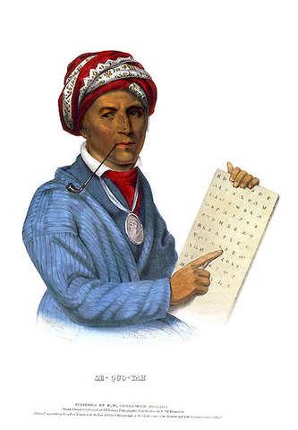 Sequoya writes the Cherokee language