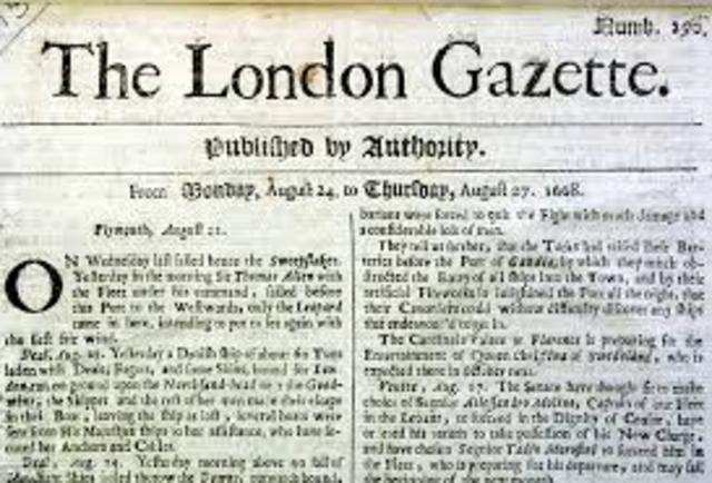 Newspapers are firts published in London