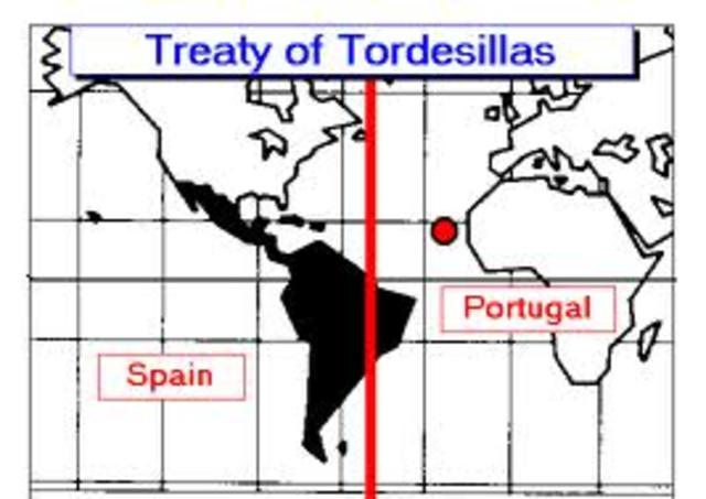 Spain & Portugal agree to Tready of Tordesillas