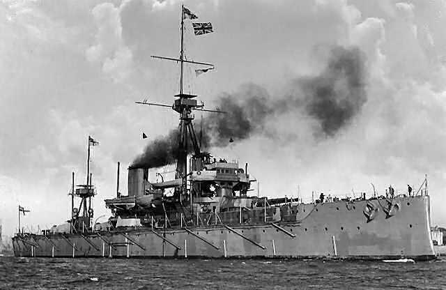 """British launch first """"dreadnought"""" class battleship."""