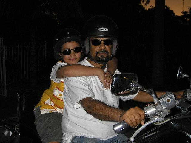 Harley with my Grandad.