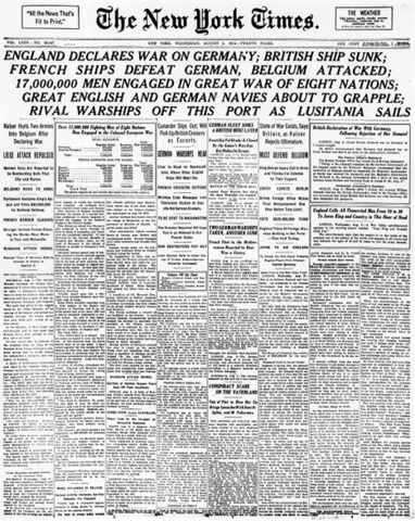 Germany declares war on neutral Belgium