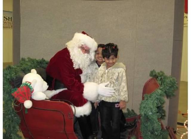 With Santa.