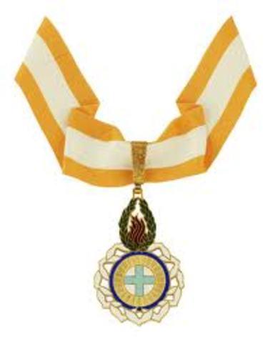 Condecorado com a Ordem da Liberdade
