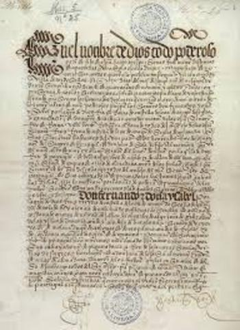 Spain and Portugal agree to Treaty of Tordesillas