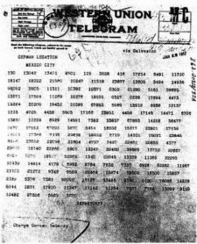 Telegram to Mexico urging her entry into war against the United States is discovered.