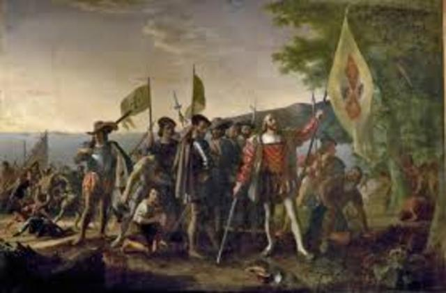 Christopher Columbus spots land in North America