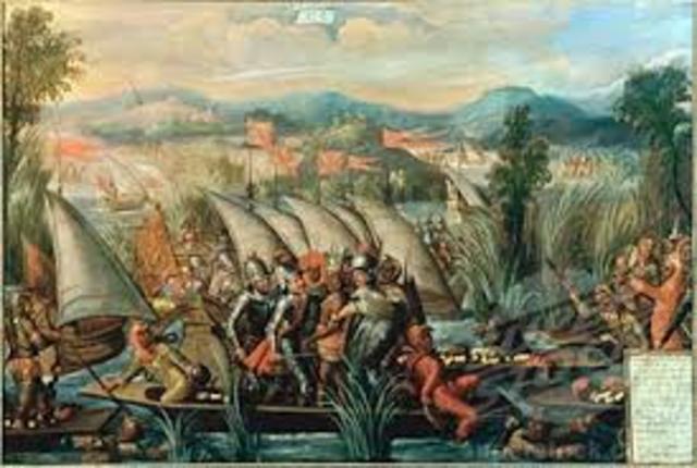 Hernando Cortes lands on Mexican coast