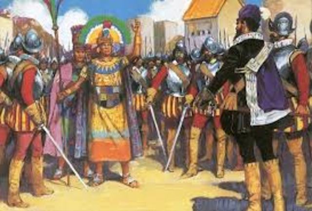 Francisco Pizzaro meets Atahualpa