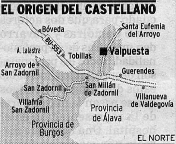 Nacimiento de la lengua castellana y su expansión. (500 DC)