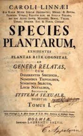 """Publicación de """"Las especies de las plantas"""" Carlos Linneo."""