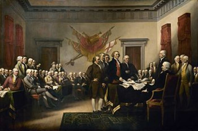 The U.S. adopts the Declaration of Independence