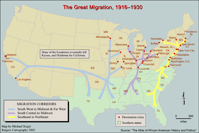 Great Migration of southern Blacks to northern cities begins