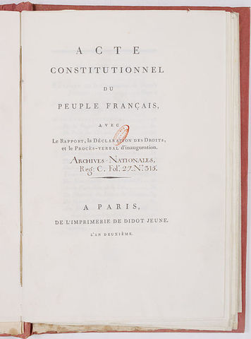 French Constitution of 1793 is adopted