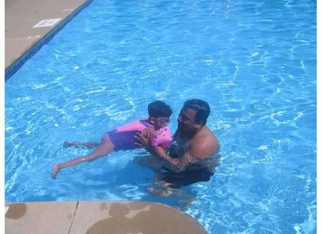 Sachita's first swim lesson