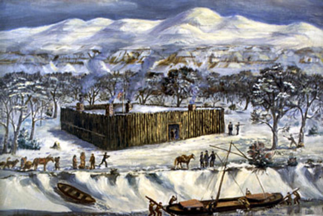 Winter fortification of Fort Mandan is completed