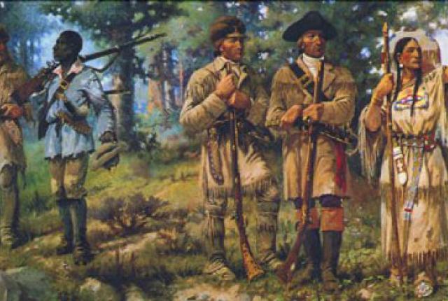 Clark, Charbonneau, and Sacagawea narrowly escape a flash flood